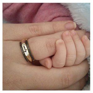 טבעת חריטת שם פלטה חותם - זהב 14K