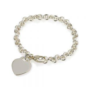 צמיד חוליות מישל + תליון לב פרינסס - Silver 925