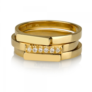 זוג טבעות קלאסיות + טבעת קלאסית משובצת יהלומים - זהב 14K
