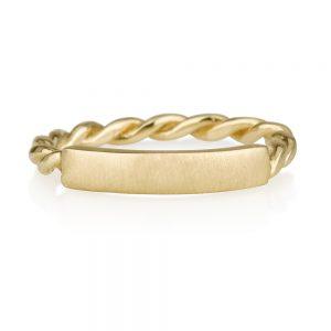 טבעת פלטה צמה- זהב 14K
