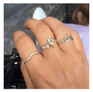 טבעת לבבות מיקס גולד - זהב צהוב 14K
