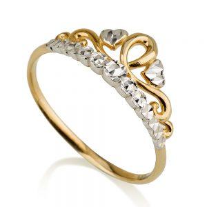 טבעת כתר פרינסס מיקס גולד - זהב צהוב 14K