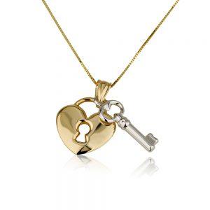 שרשרת מפתח הלב מיקס גולד - זהב צהוב 14K