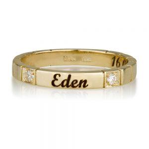 טבעת חריטה שיבוץ כפול יהלומים - זהב 14K