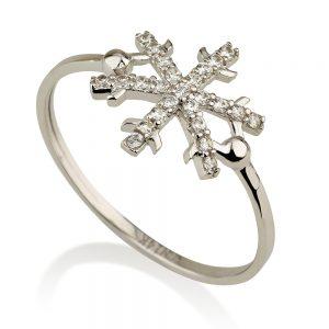טבעת פרוסטי- זהב לבן 14K