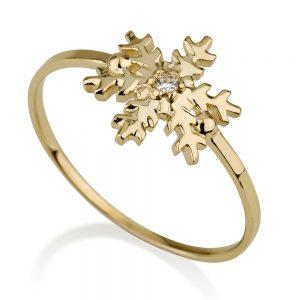 טבעת פתית שלג זורח- זהב צהוב 14K