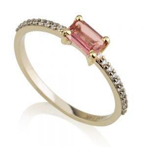 טבעת רובלייט טבעית- זהב לבן 14K