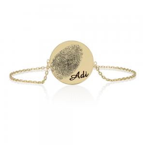 צמיד מטבע חריטת טביעת אצבע - זהב 14K
