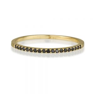 """טבעת """"Second"""" יהלומים שחורים - זהב צהוב 14K"""