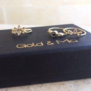 טבעת לוסי אמצעית עגולה - זהב 14K