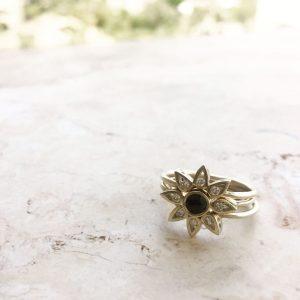 זוג טבעות לוסי + טבעת לוסי אמצעית עגולה - זהב 14K