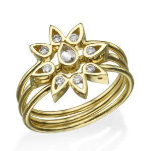 זוג טבעות לוסי + טבעת לוסי אמצעית טיפה - זהב 14K