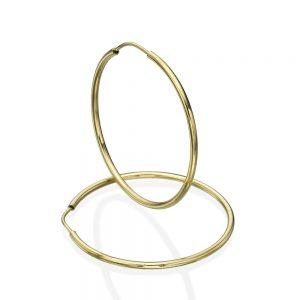 עגילי חישוק בייסיק - זהב צהוב 14K