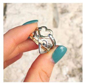 טבעת לב מיקס - זהב צהוב 14K