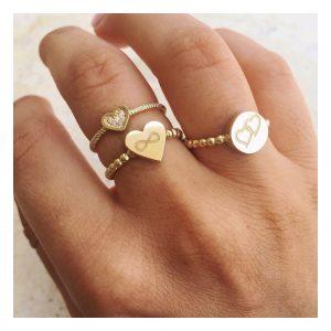 טבעת טייני הארט - זהב צהוב 14K