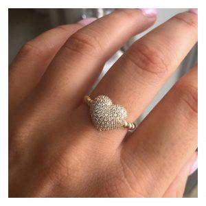 טבעת לב ARIA - זהב צהוב 14K