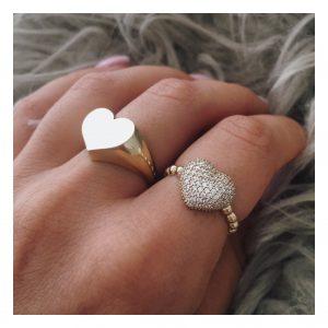 טבעת לב חותם - זהב צהוב 14K