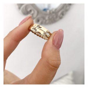 טבעת חריטת שם פלטה צמה- זהב 14K