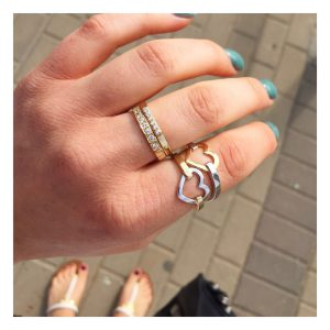 טבעת לב מיקס - זהב לבן 14K