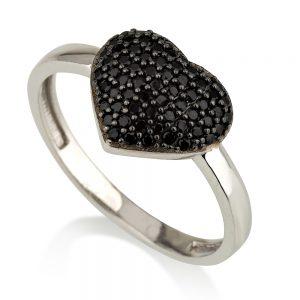 טבעת לב ג'סמין שיבוץ אבנים שחורים - זהב לבן 14K