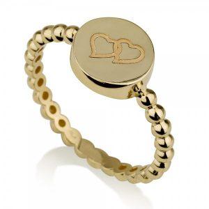 טבעת חותם לבבות - זהב צהוב 14K