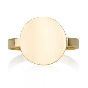 טבעת חותם מעוגל - זהב 14K