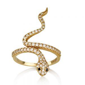 טבעת קוברה בלאק - זהב 14K