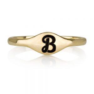 טבעת חריטת שם חותם וינטג' - Gold Name זהב 14K