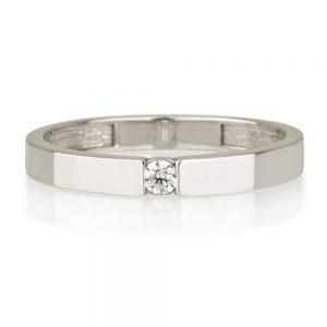 טבעת שיבוץ זירקון - זהב 14K