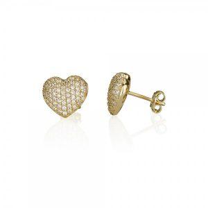 עגילי לב ARIA - זהב צהוב 14K