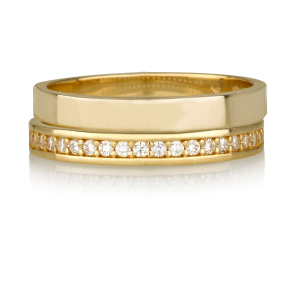 טבעת חישוק + טבעת קומפליט שיבוץ זירקונים - זהב 14K