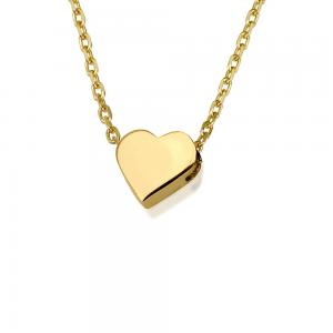 שרשרת חרוזי לבבות תליון יחיד - זהב 14K