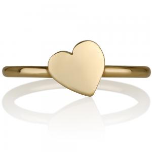 טבעת לב נטוי - זהב צהוב 14K