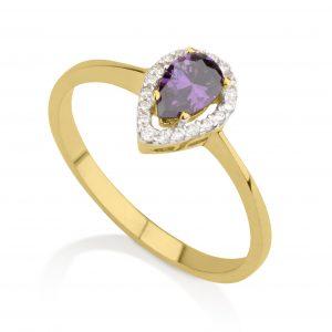 טבעת דיאנה סגלגל - זהב צהוב 14K
