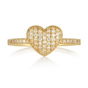 טבעת מלכת הלבבות - זהב צהוב 14K