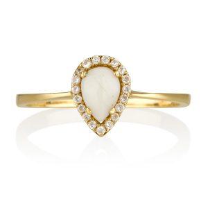 טבעת טיפה אופל טבעית- זהב צהוב 14K
