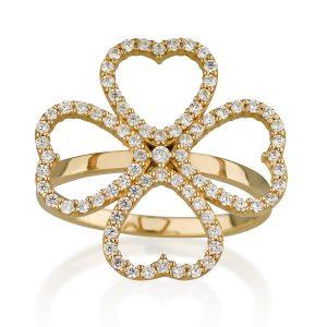 טבעת לבבות קוואטרו - זהב 14K