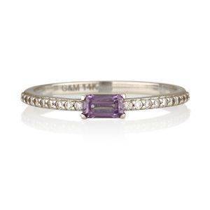 טבעת אמטיסט טבעית - זהב לבן 14K