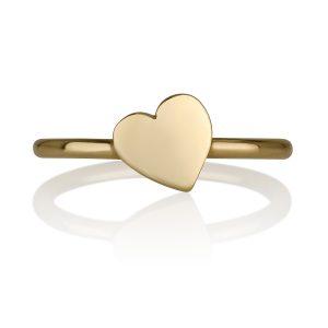 טבעת לב נטוי לחריטה - זהב צהוב 14K