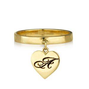טבעת חריטה ספיישל הארט - זהב 14K