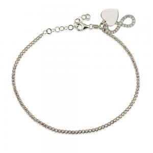 צמיד Diamond Cut בתוספת תליון אינפיניטי הארט – זהב לבן 14K