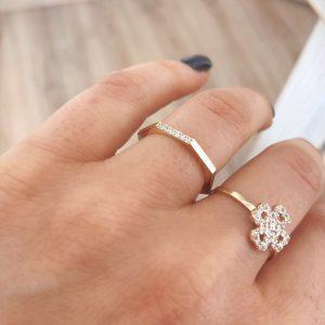 טבעת גיאומטרית - זהב צהוב 14K