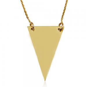 שרשרת פלטה גיאומטרית - זהב 14K