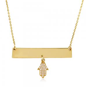 שרשרת פלטה מלבנית בשילוב תליון חמסיקה - זהב 14K