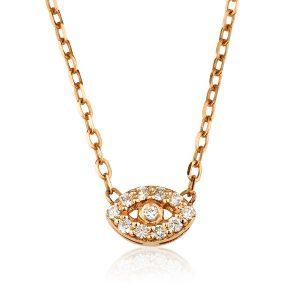 שרשרת יהלומים Mini Eye - זהב 14K