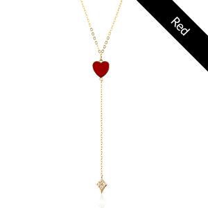 שרשרת עניבה קולרפול HEART - זהב 14K