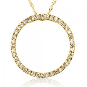 שרשרת יהלומים ביג סירקל - זהב 14K