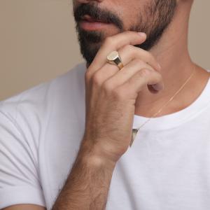 טבעת חריטה עיגול לגבר - זהב 14K