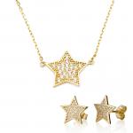 סט שרשרת ועגילי זהב דוגמת כוכבים