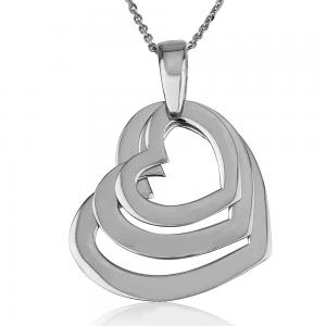 שרשרת חישוקי לבבות טריפל - זהב 14K